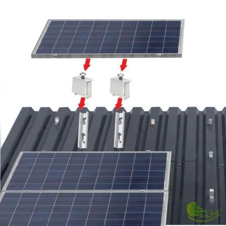 Kit de fijaciones para panel fotovoltaico sobre cubierta metálica.