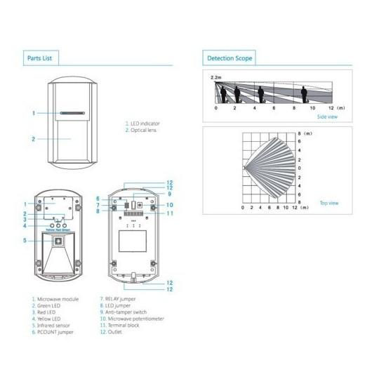Detector volumetrico para exterior pir 957w - Costo allarme volumetrico casa ...