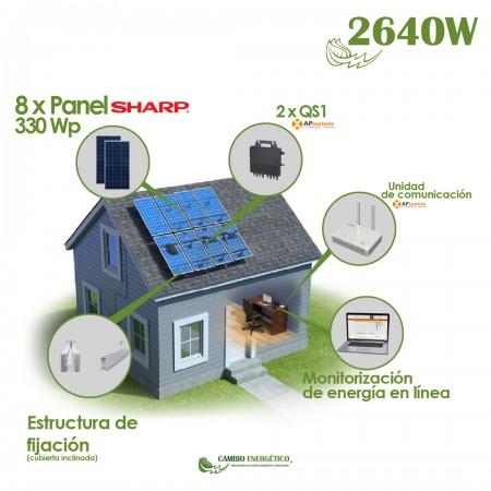 KIT SOLAR AUTOCONSUMO CON MICROINVERSOR 2640 Wp APSYSTEM
