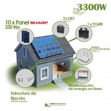 KIT SOLAR AUTOCONSUMO CON MICROINVERSOR 3300 Wp APSYSTEM