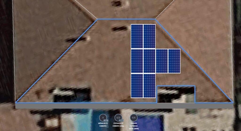 simulación de Instalación FV con paneles de 490 Wp