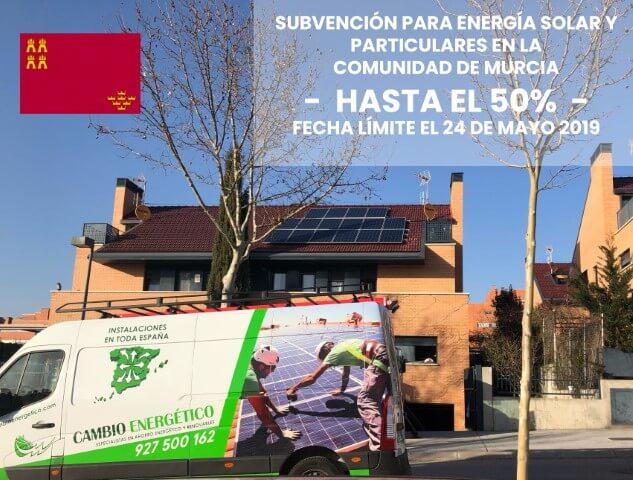 subvención energías renovables en Murcia 2019