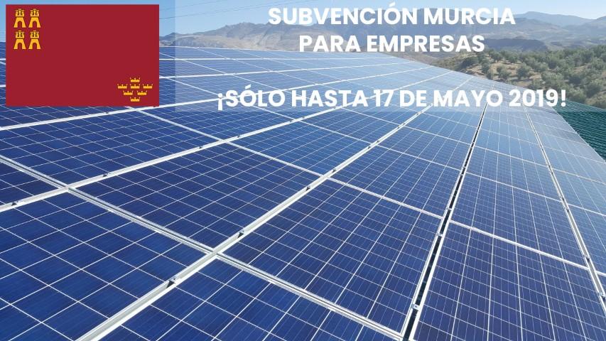 subvención energías renovables para empresas en Murcia 2019