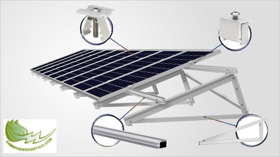 Infografía componentes kit de fijaciones de cubierta plana de Cambio Energético.
