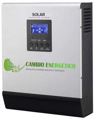 Inversor regulador con cargador para kit autoconsumo con baterías de Cambio Energético.