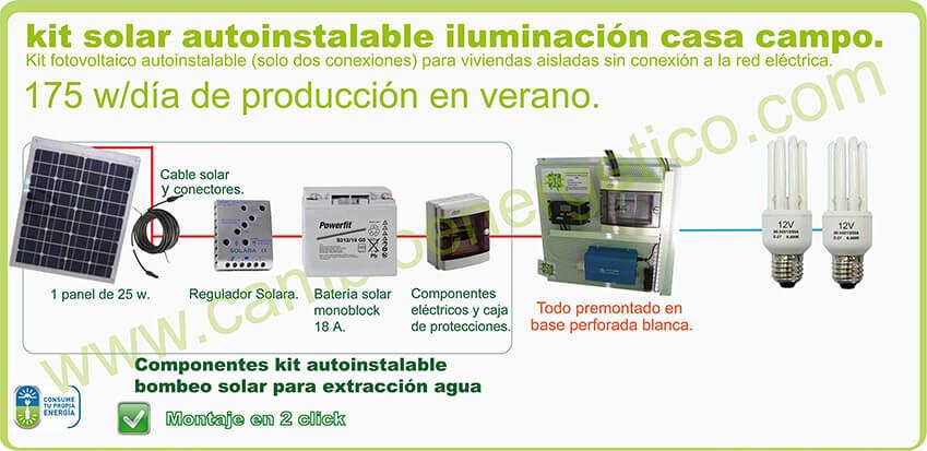 Kit solar para casas de campo de 175 w/día