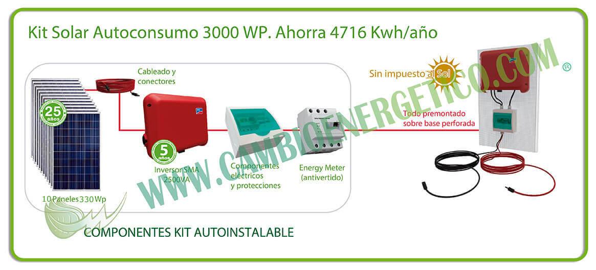 Kit solar autoconsumo sin baterías 3000 Wp