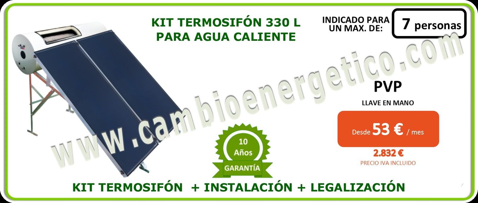 Kit termosifon 330 l