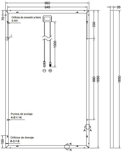 Dimensiones de Yingli 280 Wp (en mm)